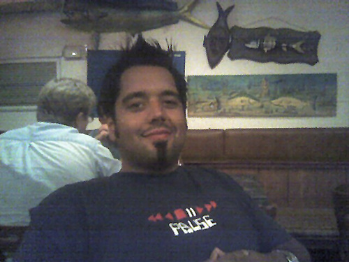 """Me Pausing and Enjoying some great food at the """"Fish House"""" in Key Largo, FL"""