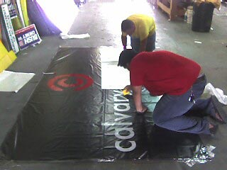 Me & Mark working on the 6'x11' banner